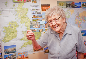 Sybil Downham, 92, a resident at The Chanters which is taking part in the Facebook 'Postcards for Kindness' campaign.