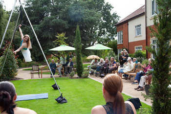 Great Oaks care home in Bournemouth recently opened its doors to the community to provide unique entertainment, including an aerial hoop display and Milo the dancing dog.