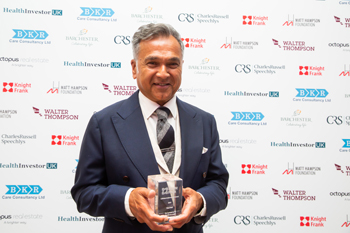 Dr Chai Patel CBE FRCP, Founder and retiring Chairman of HC-One, received the Lifetime Achievement Award at the Knight Frank Healthcare & Senior Living Dinner 2019.