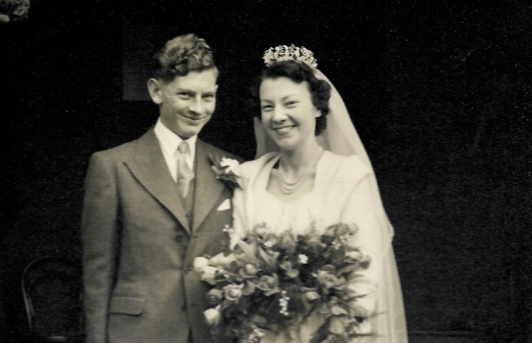 Kay and Ted on their wedding day in 1950.