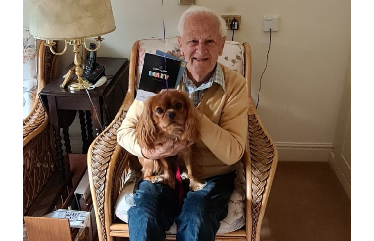 Colin and his beloved dog Rusty are all set to do 50 laps around their care home to raise money for Cancer Research.