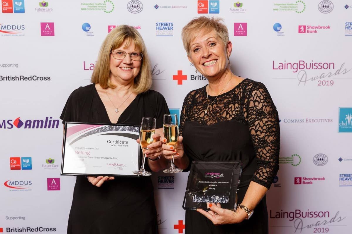 (L-R) Chief Executive Tracey Stakes and Deputy Chief Executive Tracy Paine with the Residential Care Award at the LaingBuisson 2019 award ceremony.