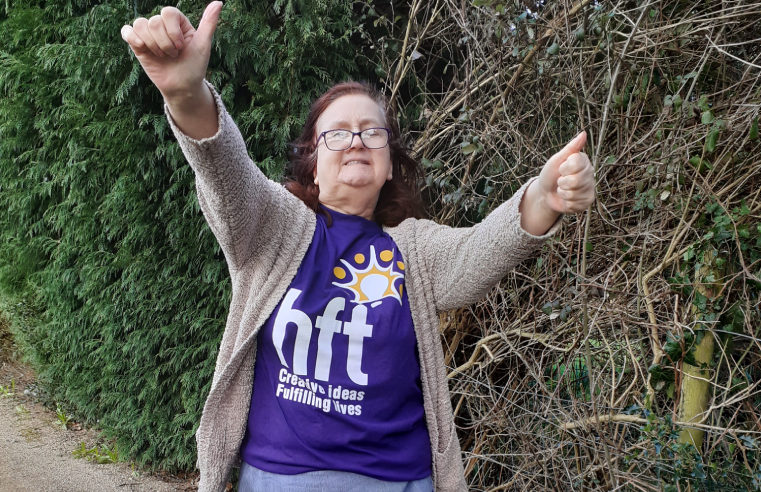 Linda, who has been supported by learning disability charity Hft since 2007, is walking 14km to raise money for the charity.