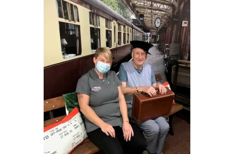 Staff and residents at Bowbridge Court care home in Newark have been delighted to unveil the traditional British railway station, featuring facilities such as a bench seating area, classic luggage with a porter's trolley and even bespoke decorations and signs to really get the feel of being track-side on the platform.