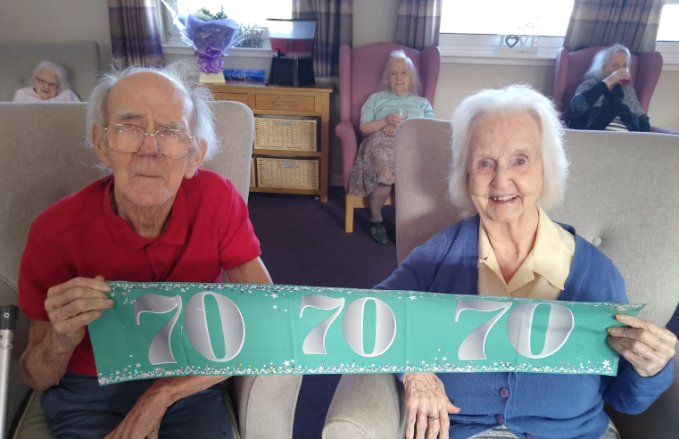 David and Anne celebrated their 70th wedding anniversary at Kingsgate Care Home in Scotland.