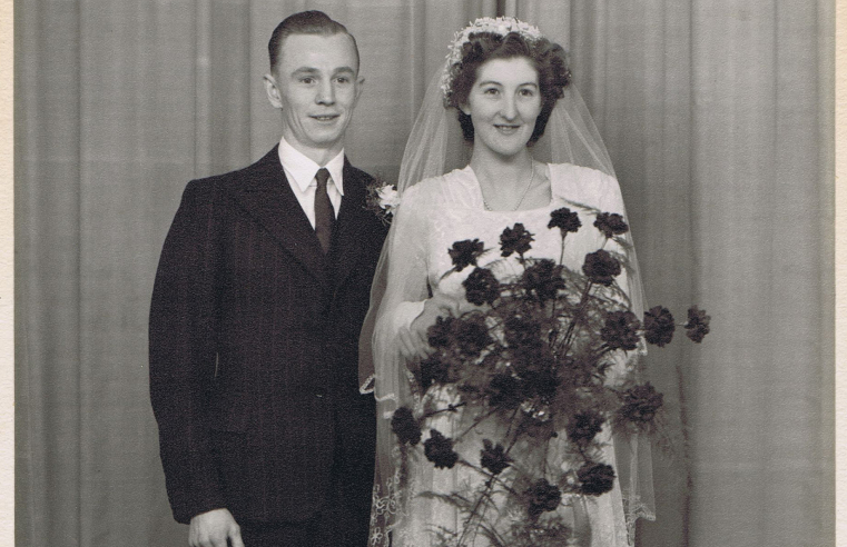 Jean and Cyril on their wedding day in 1949.