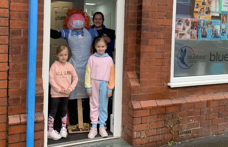 Bluebird Care St Helens and Bluebird Care Warrington's Deputy Manager, Clare Toole, and her daughters Lacie and Lyla, made Meredith the scarecrow, especially for the festival.
