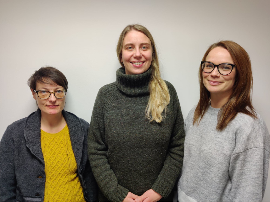 The Family Carer Support Service team. From L-R: Rhiannon Lawton, Kelly Jones, Emma Lewis